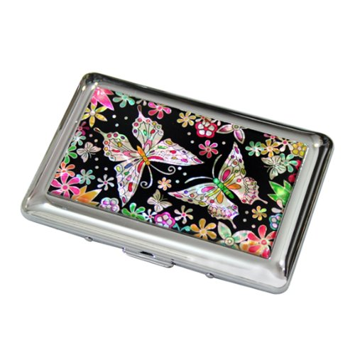 - Mother of Pearl Butterfly Flower Design Engraved Metal Stainless Steel Cigarette Holder Case Storage Box
