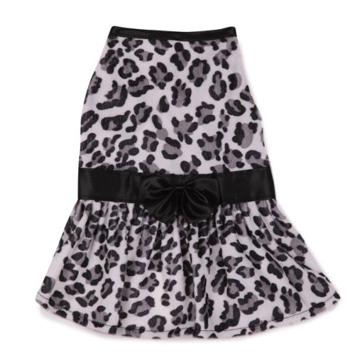 Zack & Zoey Polyester Snow Leopard Plush Dog Dress, X-Small, -