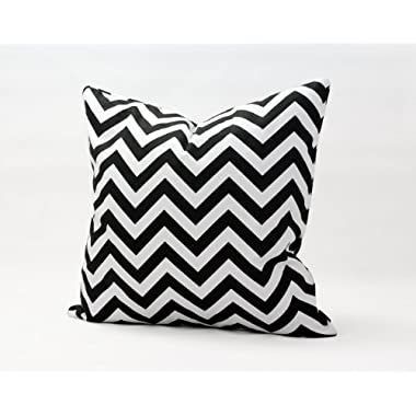 Sinoguo Home Decorative 16  18  20  Pillow Case Black White Zig-zag Printed Throw Pillows Cushion Cover Handmade (16x16 )