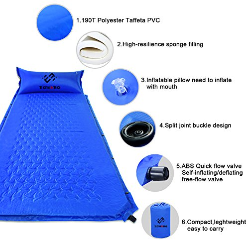 "Self Inflating Sleeing Pad by Egnaro,Compact Waterproof Air Sleeping Mat ,Great for Camping,Traveling,Backpacking,Hiking,74.8""L x 25.6""W x 0.98""H"