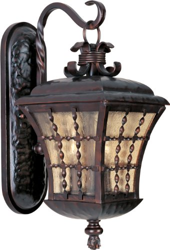 Maxim 30493ASOI Orleans 3-Light Outdoor Wall Lantern, Oil Rubbed Bronze Finish, Amber Seedy Glass, CA Incandescent Incandescent Bulb , 60W Max., Damp Safety Rating, Standard Dimmable, Frosted Glass Shade Material, Rated Lumens (Wall Mediterranean Lighting Mounts)