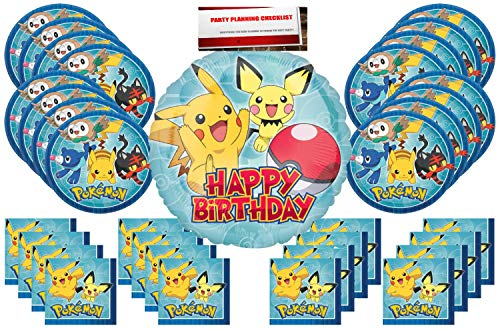 Pokemon Pikachu Party Supplies Bundle Pack for 16 (17 inch Balloon Plus Party Planning Checklist by Mikes Super Store)]()