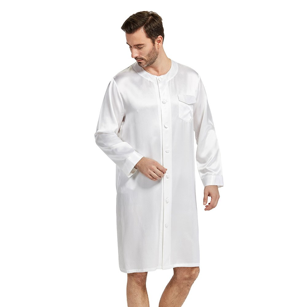 LilySilk Silk Robes For Men Button Front Closure O-Neck 22 Momme Wedding Party Bath Robe White XXL