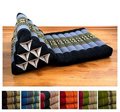 Thaikissen der Marke Asia Wohnstudio, Thaikissen aus reinem Kapok, Dreieckskissen mit Auflage, Yoga Dreieckskissen aus Asien, Feng Shui Triangelkissen für Meditation und Entspannung