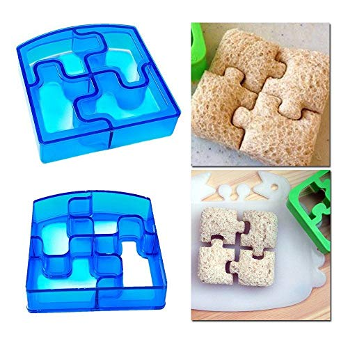 Price comparison product image TOP Fancy Puzzle DIY Sandwich Crust Cutter, Pizza Cutter, Bread Cutter Mold, Set of 2, Working great to encourage picky toddler eaters