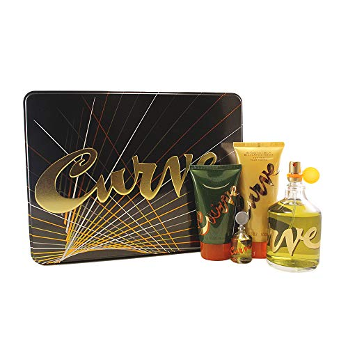 Liz Claiborne Curve 4 Peice Gift Set Cologne Spray for Men, Mini Splash, After Shave Balm, Shower Gel, 4 Count ()