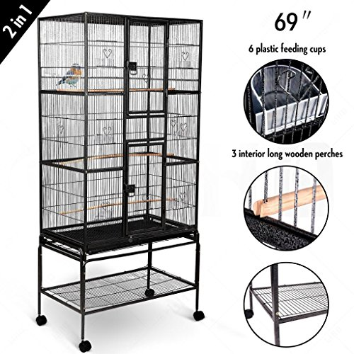 "Idealchoiceproduct 69"" Exlarge Bird Flight Cage Portable Parrot Cages Pet Supplies Birdcages Parrot Finch Macaw Cockatoo Birdcage Stands W/Casters Wheels 32x19x69 High from Idealchoiceproduct"