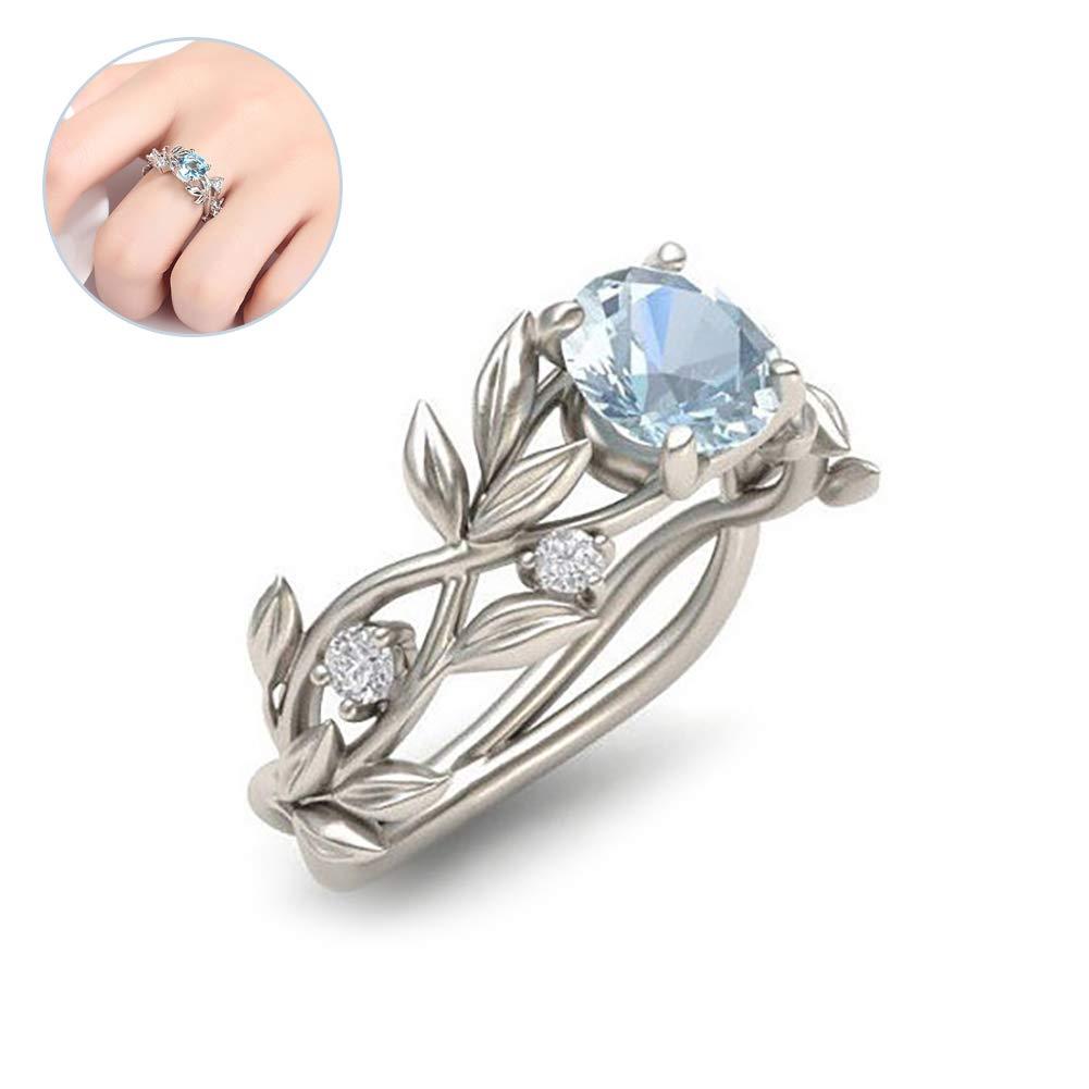 Nicedeal 1PC Women Zircon Flower Ring Leaf Rings Engagement Wedding Rings Gift for Valentine's Day(7)