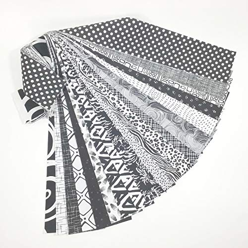 - Jelly Roll 20 Cotton Quilting Fabric Strips 2.5 X 43-inch Classic Black and White No Duplicates