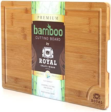 "ROYAL CRAFT WOOD Natural Bamboo Cutting Board, Serving Tray, Extra Large 18""x12""x3/4"