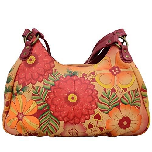 Silver Ruched Large Purse - Anna by Anuschka Leather Hobo Shoulder Hand Painted Handbag & Purse Holder Bundle (Summer Bloom Ruched)