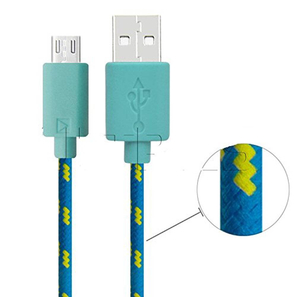 Weimay Braided USB 2.0 A to Micro B Charging Cable Data Sync Cord Extra-long Sturdy Fabric Blue