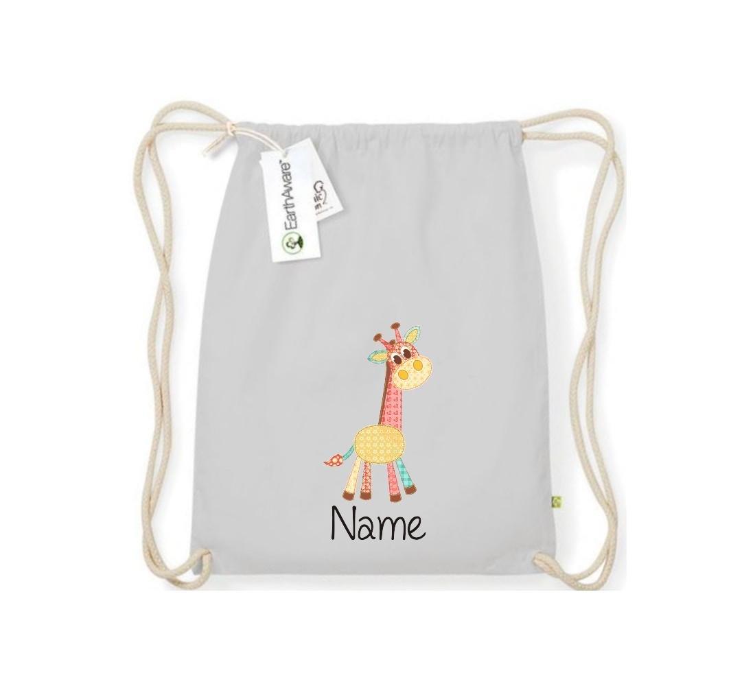 Organic gymsac con simpáticos motivos con su nombre jirafa, color naturaleza, tamaño talla única