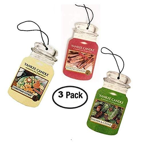 Yankee Candle Car Jar Variety 3 Pack - Sparkling Cinnamon, Balsam & Cedar, Christmas Cookie