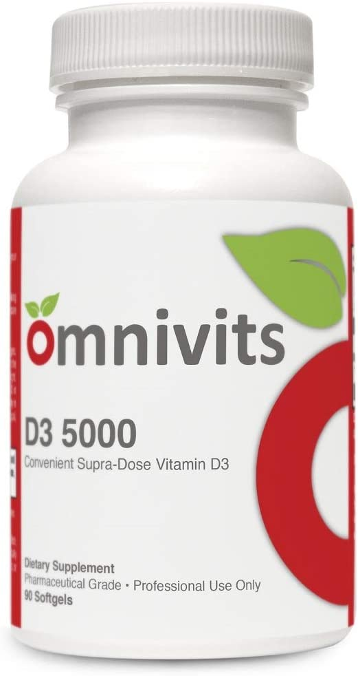 Omnivits D3 5000 125 mcg | Supra Dose Vitamin D3 Softgels | Hypoallergenic Support for Bone, Dental, Cardiovascular, Immune Health | 90 Softgels