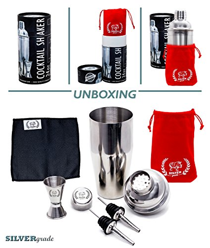 Cocktail Shaker Set - Professional Martini Bartender Kit - 24 Ounce Stainless Steel Shaker with Built-in Strainer and Lid, Double Jigger, 2 Liquor Pourers, 50 Cocktail Recipes eBook - by SILVERgrade by SILVERgrade (Image #2)