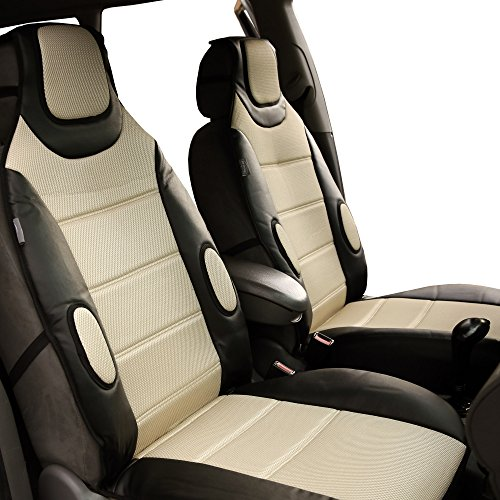 FH Group FH-FB202102 Pair set Leatherette Seat Cushion Pads, Beige Color w. Free Gift - Fit Most Car, Truck, Suv, or Van by FH Group