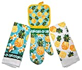 #4: Summer Fun Products Mainstays 4 Piece Kitchen Bundle - Pot Holder, Oven Mitt, 2 Dish Towels - Fun Design (Pineapple)