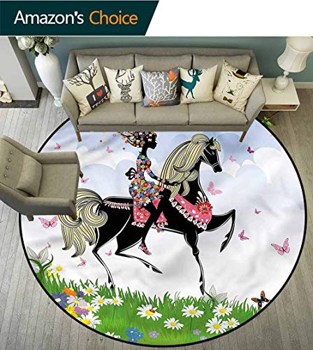 RUGSMAT Horse Round Area Rug Ultra Comfy Thick,Girl Riding Pony in Spring Pattern Floor Seat Pad Home Decorative Indoor Round-63
