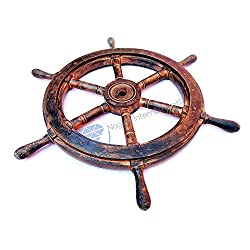 Nagina International Nautical Wooden Antique Vintage Captain's Ship Wheel - Pirate Home Decor Gifts - Nursery Wall Hangings (36 inches, Antique Golden)