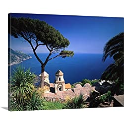 Giovanni Simeone Premium Thick-Wrap Canvas Wall Art Print entitled Italy, Campania, Amalfi Coast, Ravello, view of Villa Rufolo and sea