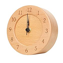 Desk Clock-ElecNova Silent non-ticking Clock Bedroom Quartz Clock Round Wooden Decorative Clock Bedside Clock 4.7 Natural Color