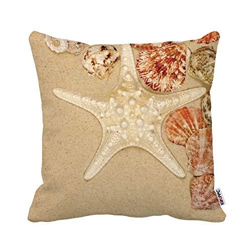 (HuaXuAgr 18 x 18 Inches Decorative Cotton Linen Square Throw Pillow Case Cushion Cover Starfish Design )