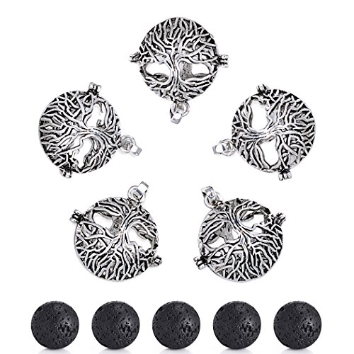Sromay 5Pcs Antique Silver Diffuser Locket Aromatherapy Essential Oil Tree of Life Cage Locket Pendant with Lava Beads Antique Silver Tree Pendant
