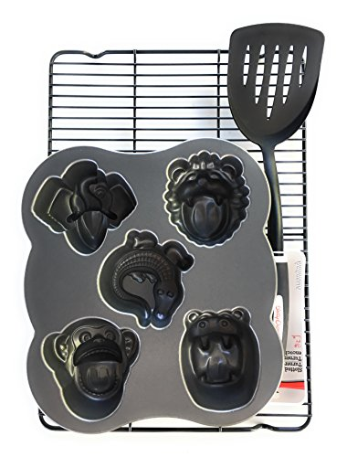 Nordic Ware / Betty Crocker Hungry Animals Cake Pan Bundle with Cooling Rack and Spatula