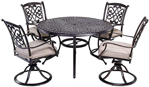 Superb Dali 5 Piece Outdoor Dining Set Patio Furniture Deep Cushioned Aluminum Swivel Rocker Chair Set With 48 Inch Round Alum Casting Table Home Interior And Landscaping Pimpapssignezvosmurscom