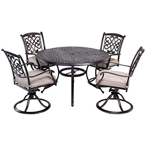 dali 5 Piece Outdoor Dining Set Patio Furniture, Deep Cushioned Aluminum Swivel Rocker Chair Set with 48 inch Round Alum Casting Table ()