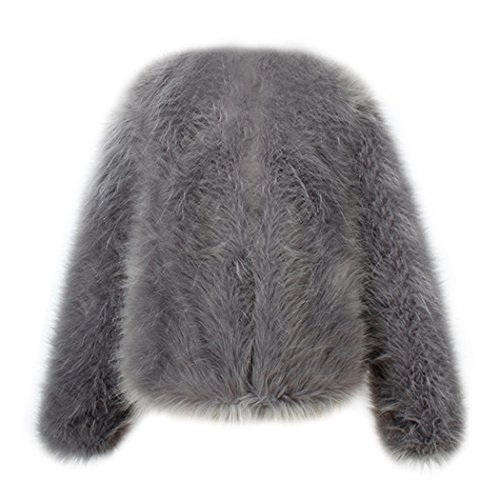 Jacket Mujeres Invierno Piel Caliente Larga Manga nbsp;Chaqueta Outwear Capa de Chaqueta de del Gris de de MIOIM Sintética Jacket la Corta Fox gCdqEwd