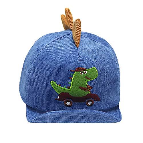 (BABINANA Corduroy Cap Dinosaur Embroideried Hats Boy Hat Cotton Sunhat 1-4 Years Blue)