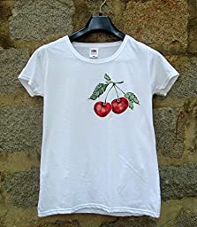 Ladies Cherries T-shirt Fashion Design Cherry Shirt Shirt with Cherry Design Cherry Shirt Hand Painted Ladies Shirt with Cherries size M.