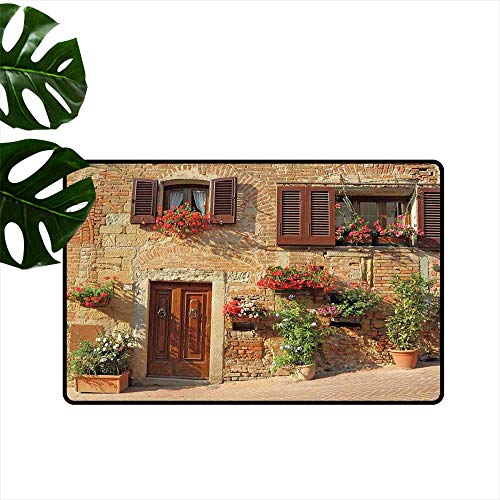(Tuscan,Floor Rug mats Picturesque Lane with Mediterranean Architecture Flowers Italian Town Home Decoration Door Mat W 31