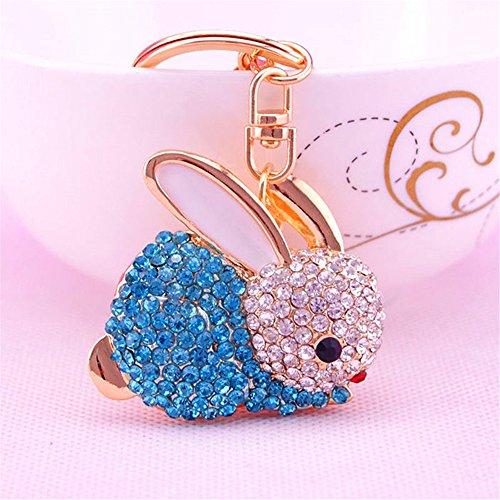 JewelBeauty Jelly Creative Gifts Crystal Diamond Cute Little Bunny Pendant Car Key Chain Ring Chain Handbags Birthday Gift (Crystal Bunny Blue)