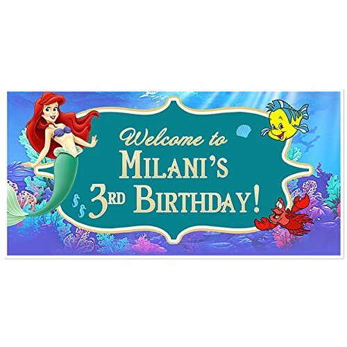 The Little Mermaid Ariel Birthday Banner Custom Personalized Party Decoration