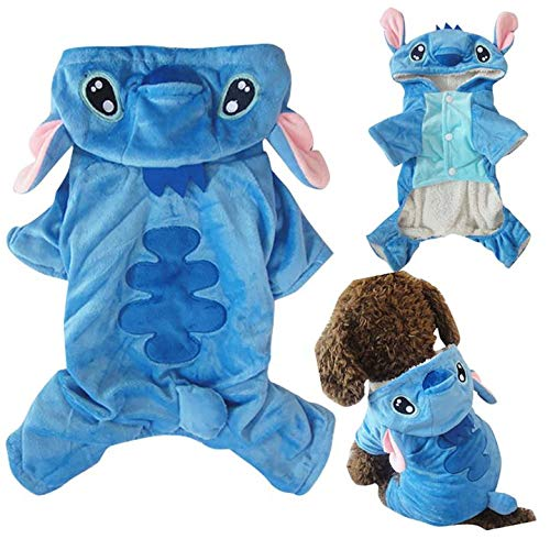 KINGSWELL Pet Custume Coat Stitch Cartoon Outfit Pajamas Clothes Hoodie Coat for Party Halloween Christmas ()