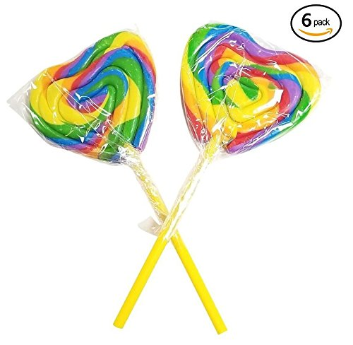 Heart Shape Lollipops Sucker 6 Count 3 Inch Rainbow Lollipop Candy Candyland Theme Lollipop