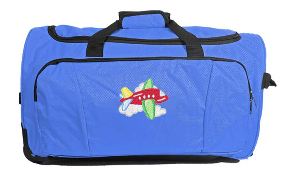 Kids Travel Zone Big Boys Rolling Duffel With Airplane Image In Surfin Blue
