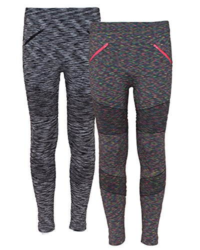 Real Love Girl's 2 Pack Athletic Moto Fleece Lined Pants With Zipper, Charcoal/Grey, Size 4-6X'