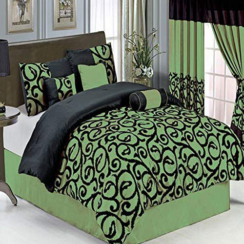 Candice Sage King size Luxury 11 piece Comforter set includes Comforter, sheets, skirt, Throw Pillows, Pillow Shams by Royal -