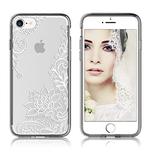 Maxace Extreme Impact Protection Clear Protective Case Hybrid Ultra Slim Thin Flexible Soft TPU Bumper for BOTH Apple iPhone 7 and iPhone 8 2017 (Floral Lace - Eyeglass Styles Latest
