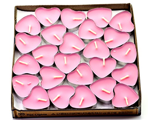 Creationtop Scented Candles Tea Lights Mini Hearts Home Decor Aroma Candles Set of 50 pcs Mini Candles (Pink(Rose))