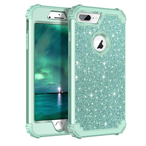 Lontect Compatible iPhone 8 Plus Case Glitter Sparkle Bling Heavy Duty Hybrid Sturdy Armor High Impact Shockproof Protective Cover Case for Apple iPhone 8 Plus/iPhone 7 Plus, Shiny Green