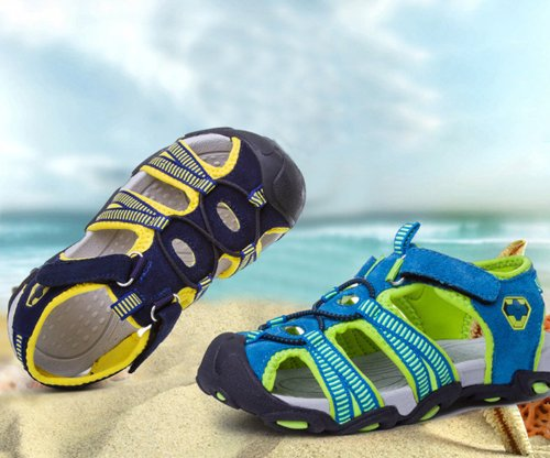 Dayiss® Jungen Leder Sandalen Sport- & Outdoor Schuhe Sandaletten aus Veloursleder Dunkelblau-Gelb