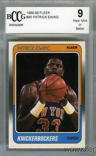 (1988/89 Fleer #80 Patrick Ewing Beckett 9 Knicks Hall of Famer Shipped in Ultra Pro Graded Card Sleeve to Protect it)