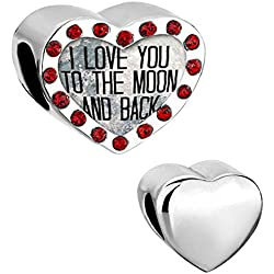 LovelyJewelry Heart Love Charms I Love You to the Moon and Back Light Siam Birthstones Beads For Bracelets Valentine's Day Gifts Idea