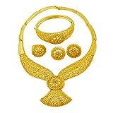 liffly Dubai Gold Jewelry Sets Fashion Women Jewelry Necklace Earrings Bracelet Ring
