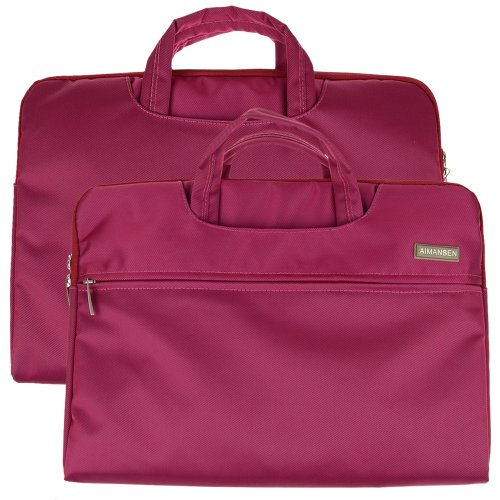 Magenta Nylon Fabric Laptops Carrying Case Briefcase Bag Pouch Sleeve for 14.1 inch Latop / Notebook / PC / Chromebook